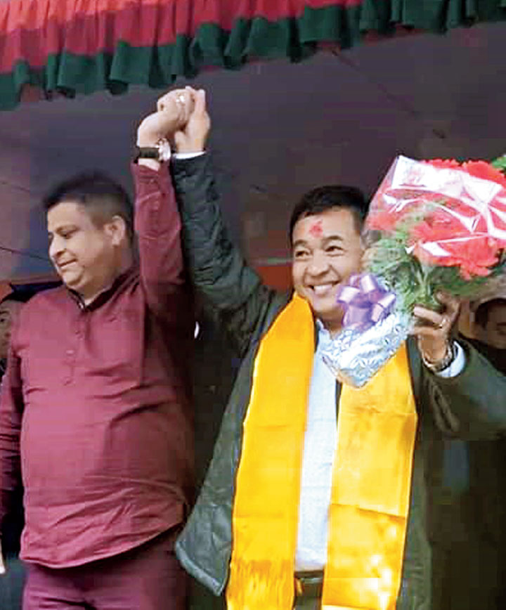 PS Tamang (Golay) celebrates his win in south Sikkim on Thursday