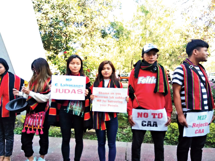 Students protest outside Lengpui airport on Tuesday