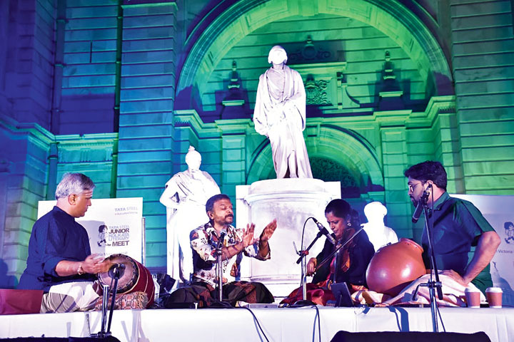 TM Krishna performs at the Tata Steel Kolkata Literary Meet, in association with Victoria Memorial Hall and The Telegraph, on Friday evening