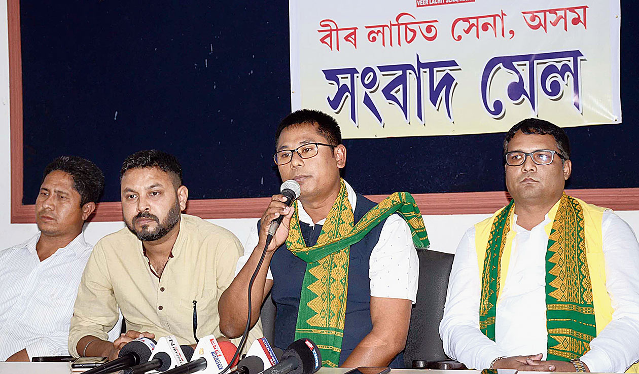 Veer Lachit Sena chief adviser Rantu Paniphukan speaks at the news conference in Guwahati on Thursday.