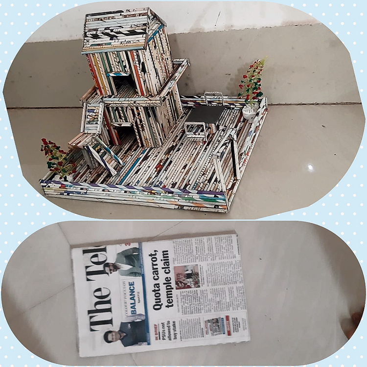 Reuse news: A newspaper stand made from old newspapers is an entry for the contest.