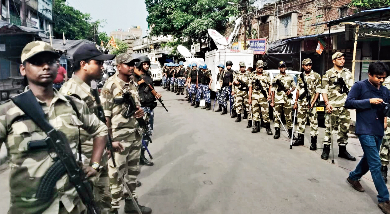 Security personnel deployed in Bhatpara.