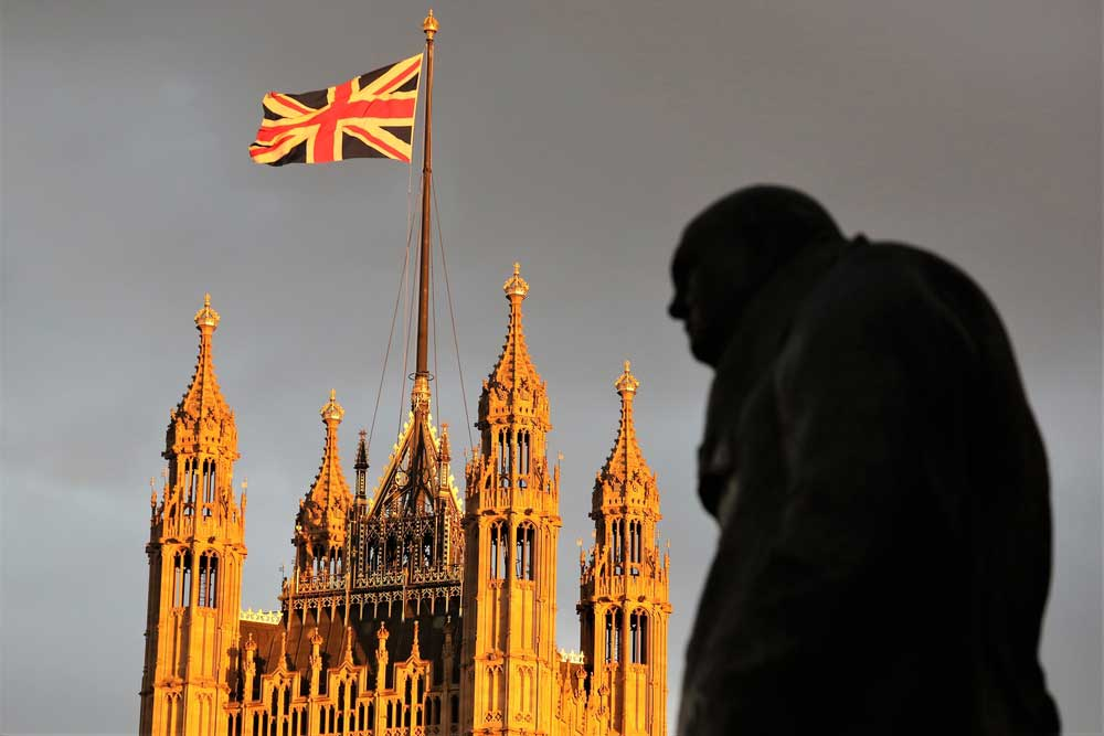 The statue of Winston Churchill in front of the Palace of Westminster on June 24, 2016.