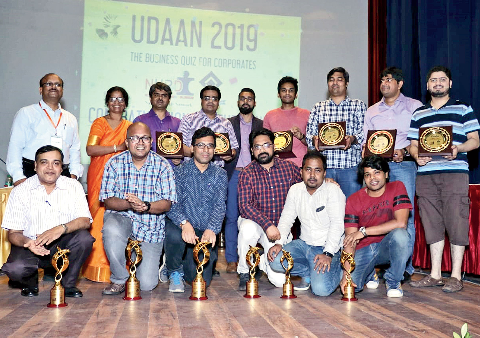 The winning teams of the corporate quiz in Ranchi on Sunday.