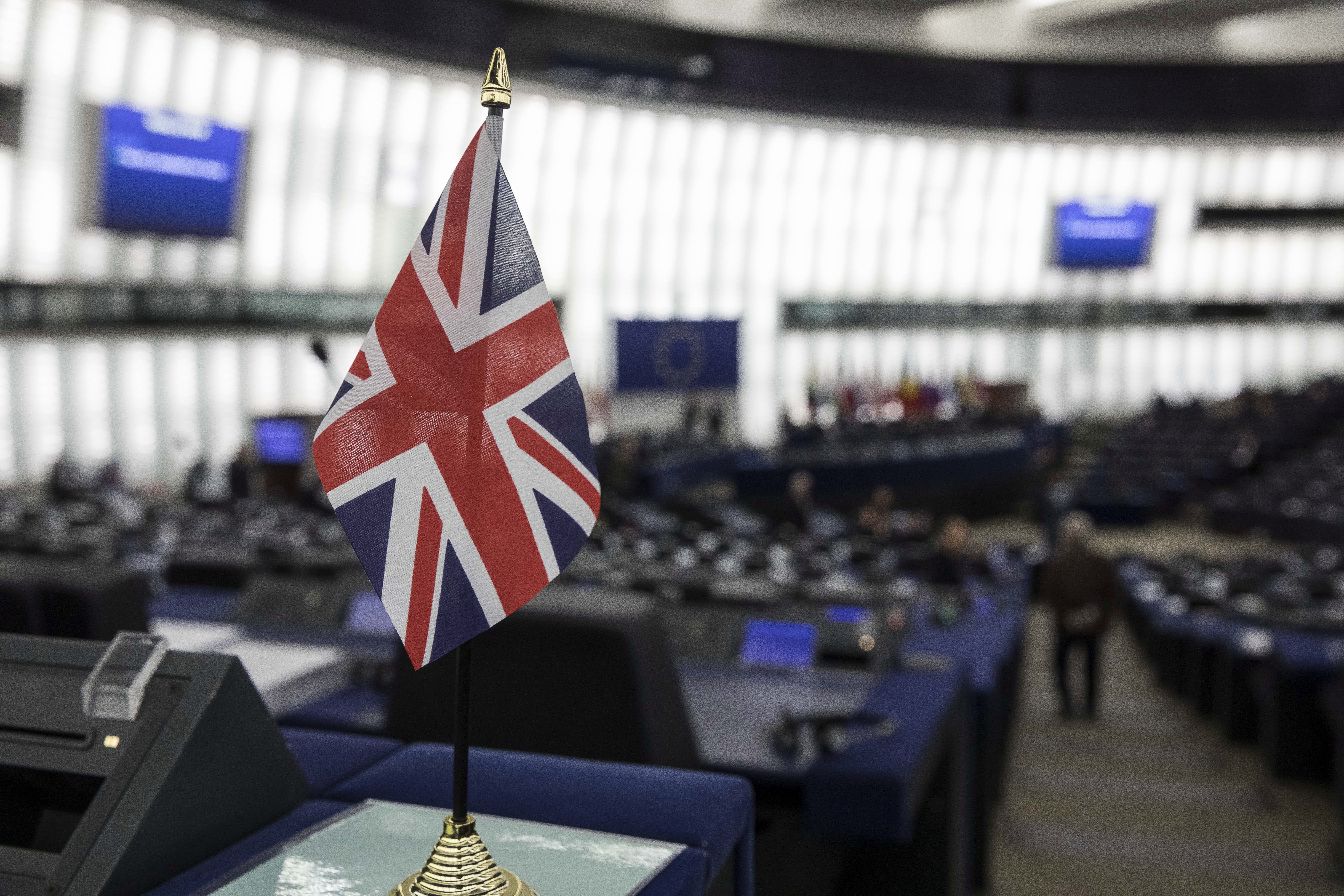 A British flag in the European Parliament during a debate on Brexit on January 16 in Strasbourg.