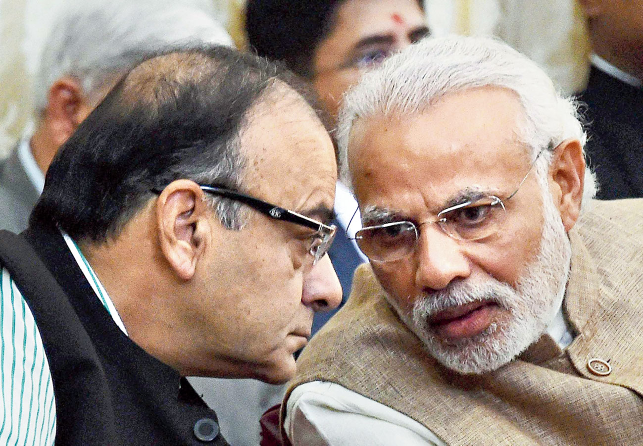 Jaitley with Modi in New Delhi on February 20, 2016.