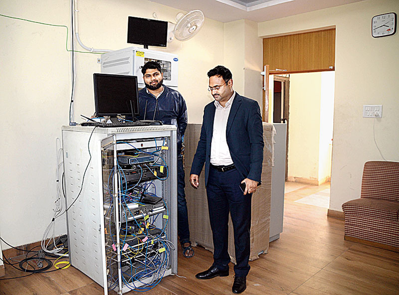 Wi-Fi installation at DC office in Ranchi on Monday.