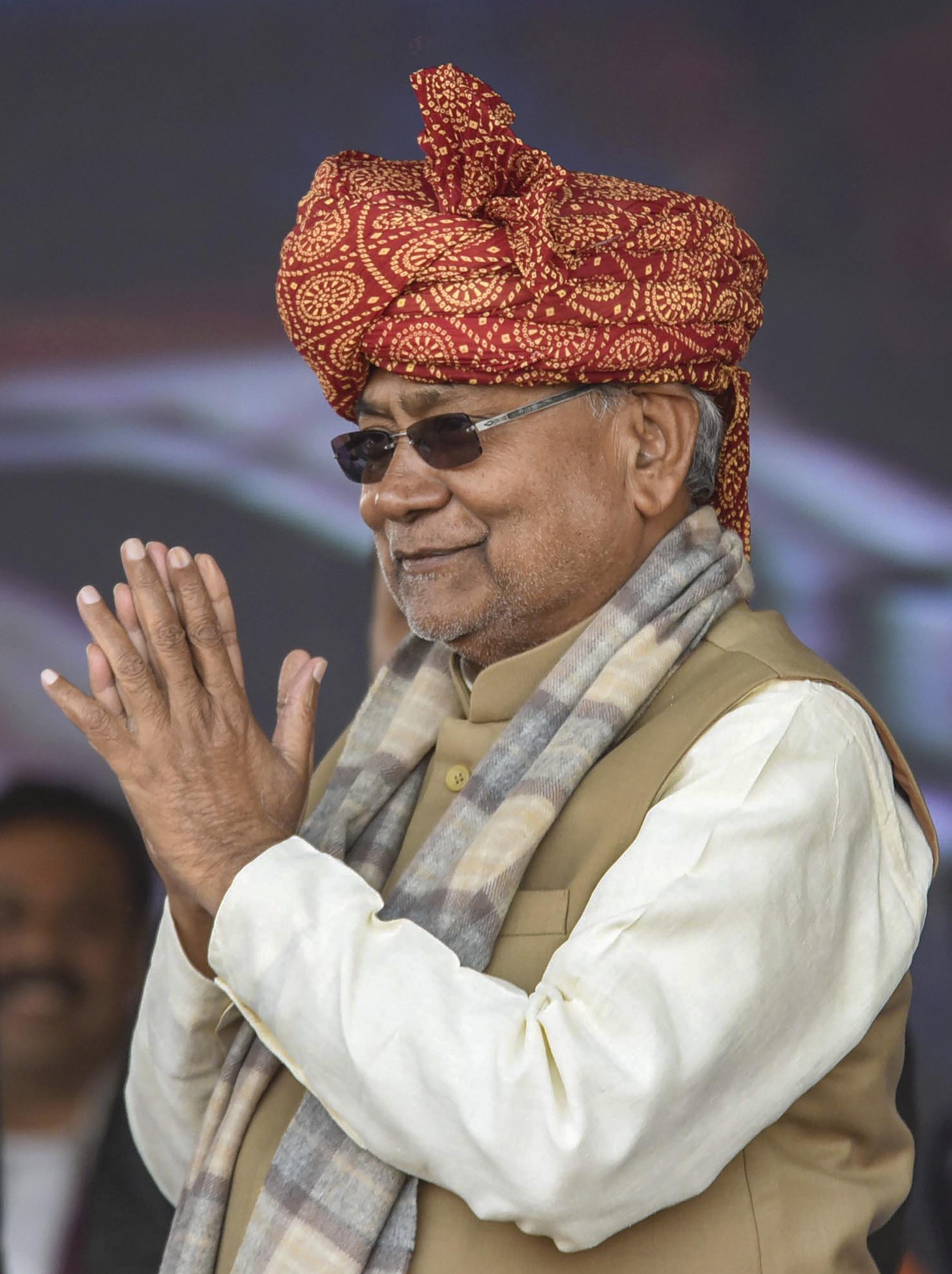 Nitish Kumar in Patna on Monday