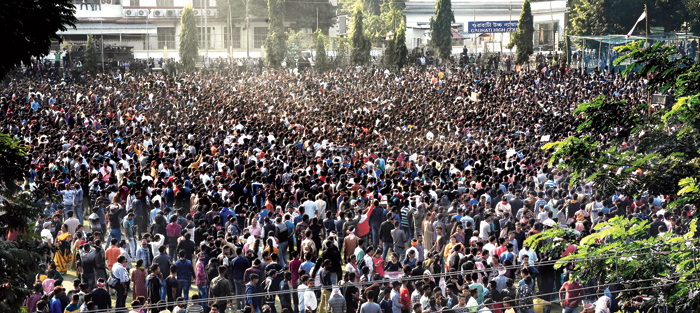 Thousands defy curfew to join the AASU rally near Gauhati High Court on Thursday against the citizenship bill