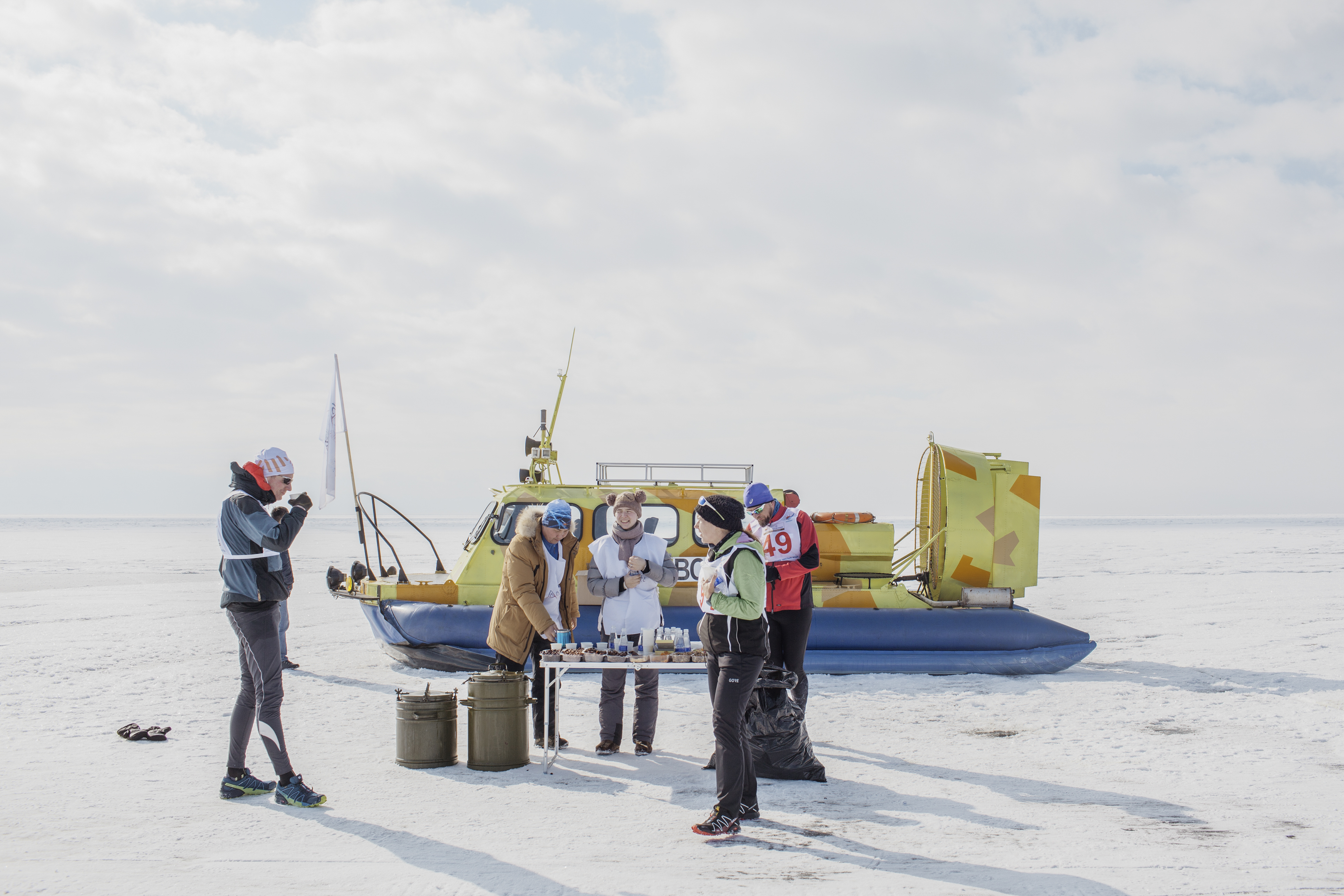 A snack and water table on the frozen surface of Lake Baikal during the ice marathon.