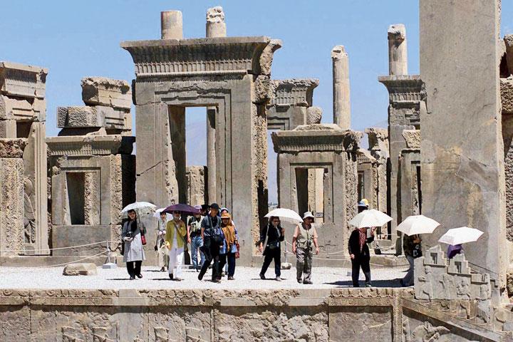 Tourists at Persepolis, a Unesco World Heritage Site, northeast of Shiraz, Iran.