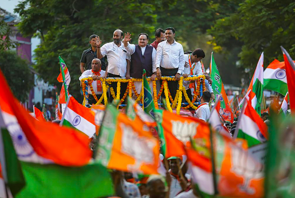 BJP Working President J P Nadda waves during a roadshow in support of the amended Citizenship Act, in Panaji, Goa, Friday, January 3, 2020.
