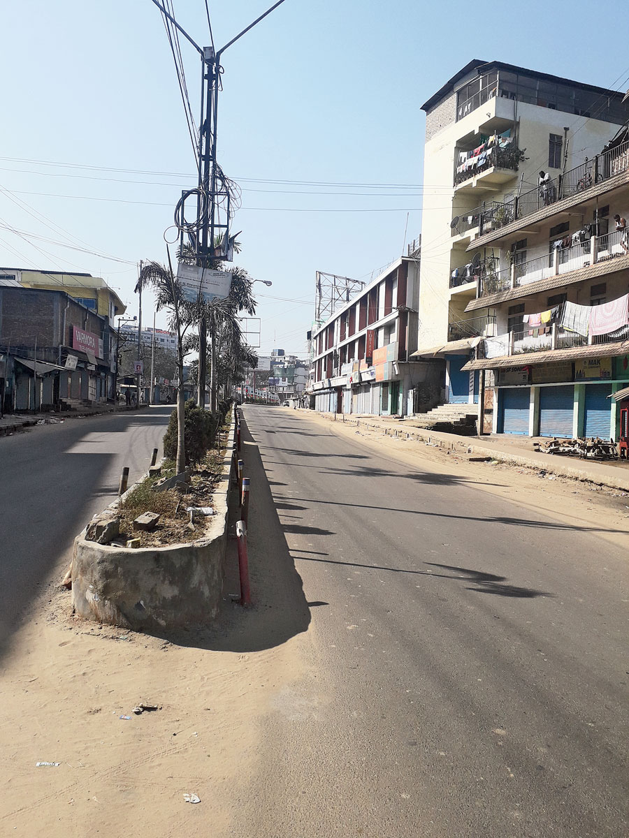 A deserted road in Dimapur during the bandh on Saturday