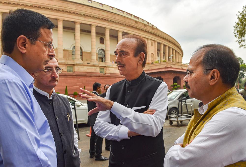 Congress leaders Ghulam Nabi Azad, Adhir Ranjan Chowdhury (R), Vivek Tankha (2L) and Randeep Surjewala (L) at Parliament during the ongoing Budget Session, in New Delhi, Thursday, March 5, 2020.