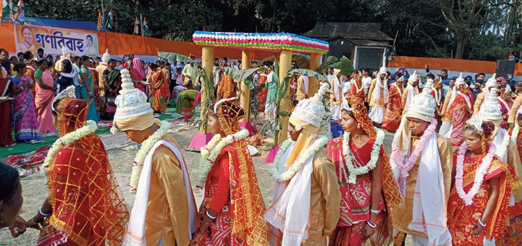 One of the mass weddings conducted by Trinamul on Monday.