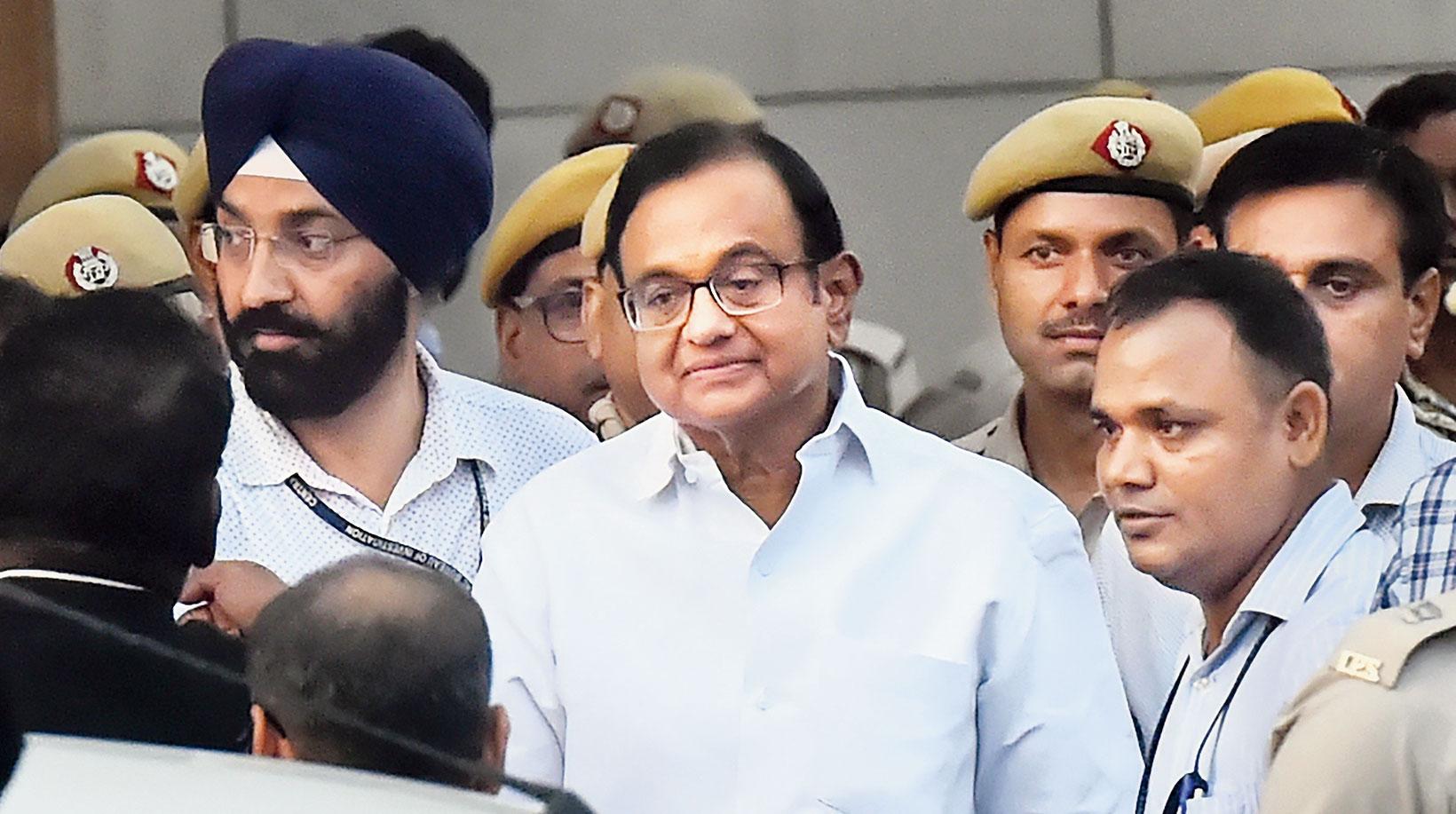 Former finance minister P. Chidambaram outside a court in New Delhi on Thursday, August 22, 2019.