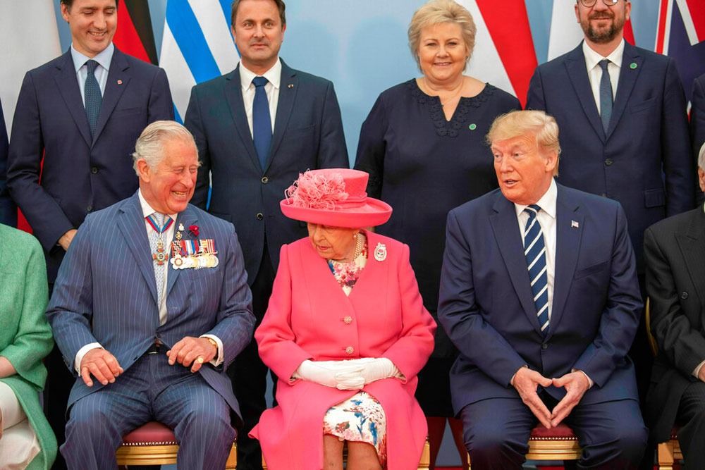 Prince Charles, Queen Elizabeth and Donald Trump at a meeting of leaders of the Allied nations during commemorations for the 75th anniversary of the D-Day landings at Southsea Common, Portsmouth, England