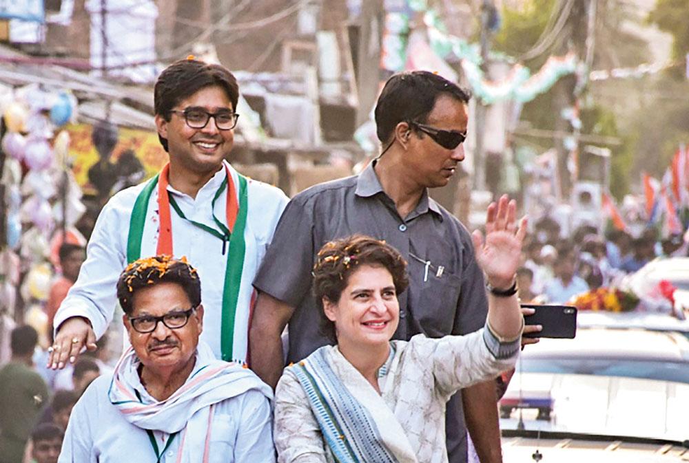 Priyanka Gandhi Vadra at an election rally in Barabanki on April 27