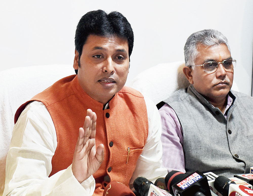 Tripura chief minister Biplab Deb (left) and Bengal BJP president Dilip Ghosh at Tripura Bhavan in Calcutta on Wednesday.