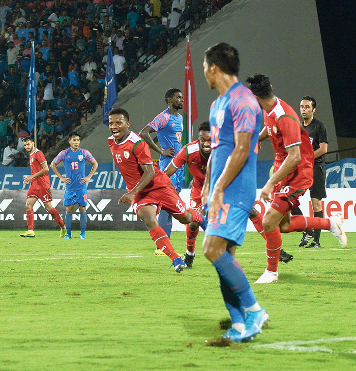 Oman's Al-Mandhar Al Alawi (No.15) celebrates after his second goal against India in Guwahati on Thursday
