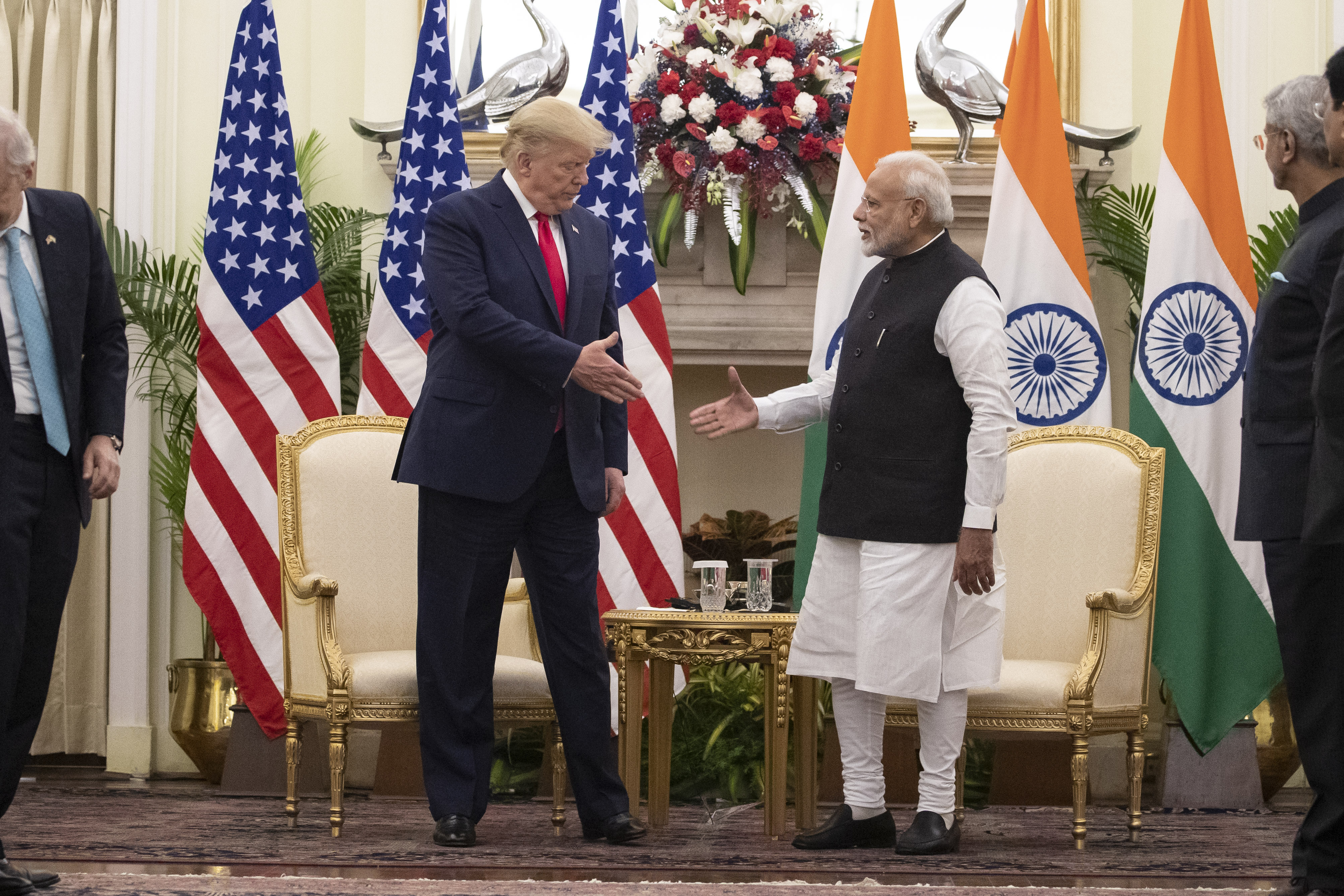 Donald Trump and Narendra Modi shake hands before their meeting at Hyderabad House on Tuesday. In July, Trump had said Modi had asked him to mediate on Kashmir.