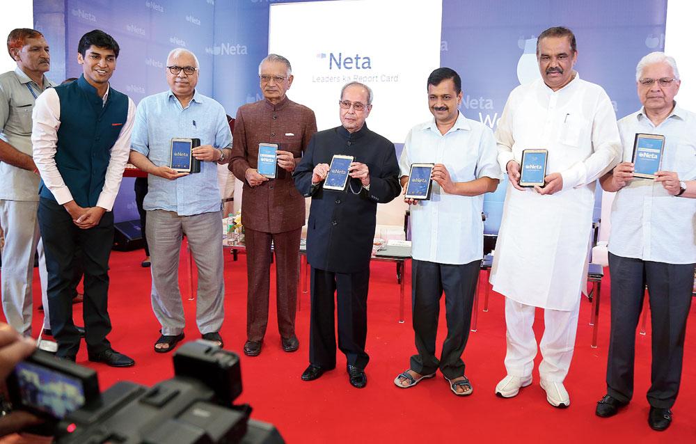 The then President Pranab Mukherjee launches the Neta app