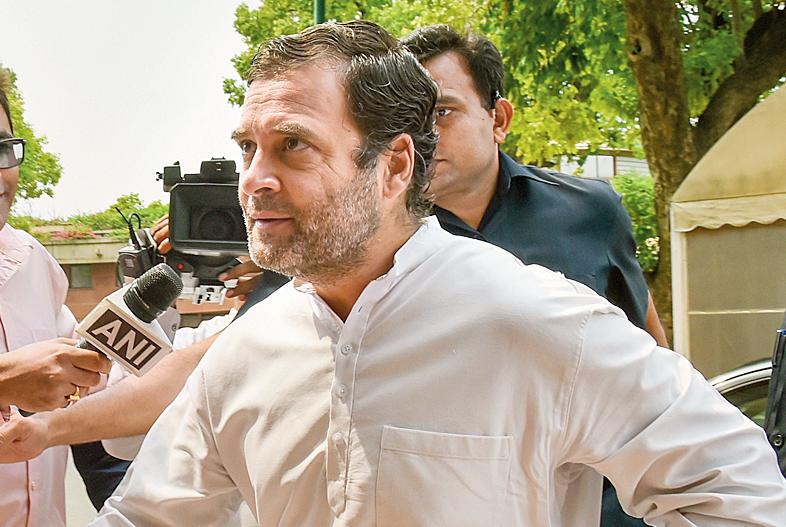 Rahul Gandhi outside Parliament on Monday.