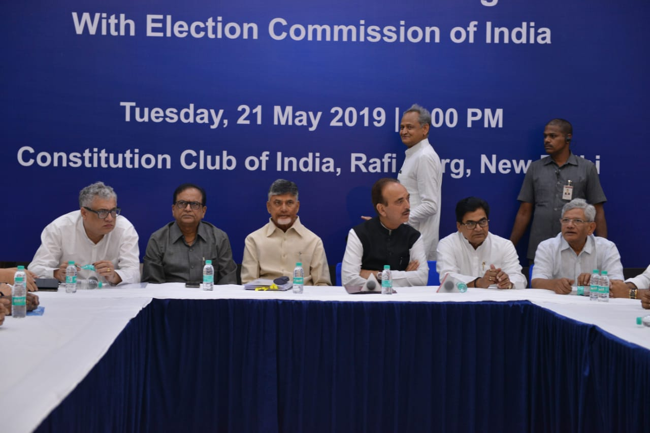 Opposition leaders during their meeting at the Constitution Club of India, in New Delhi, on Tuesday.