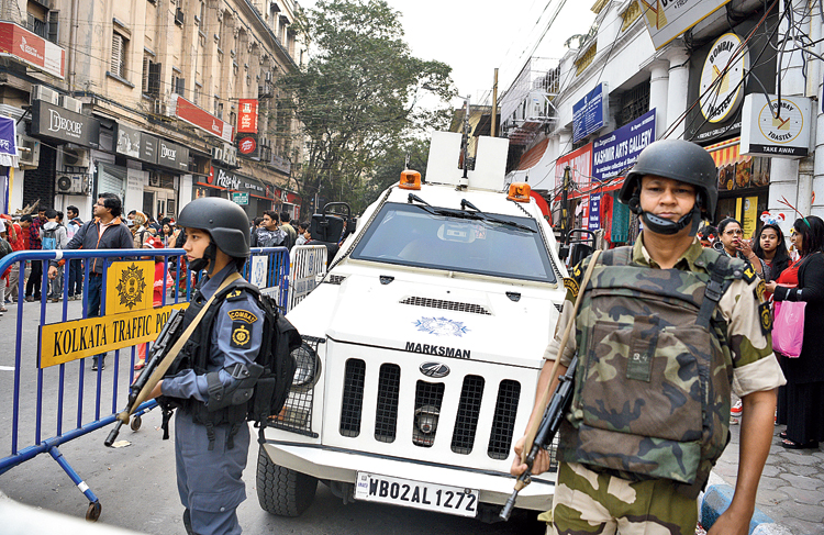 A woman constable of Calcutta police's Combat Warriors on Park Street on Wednesday.