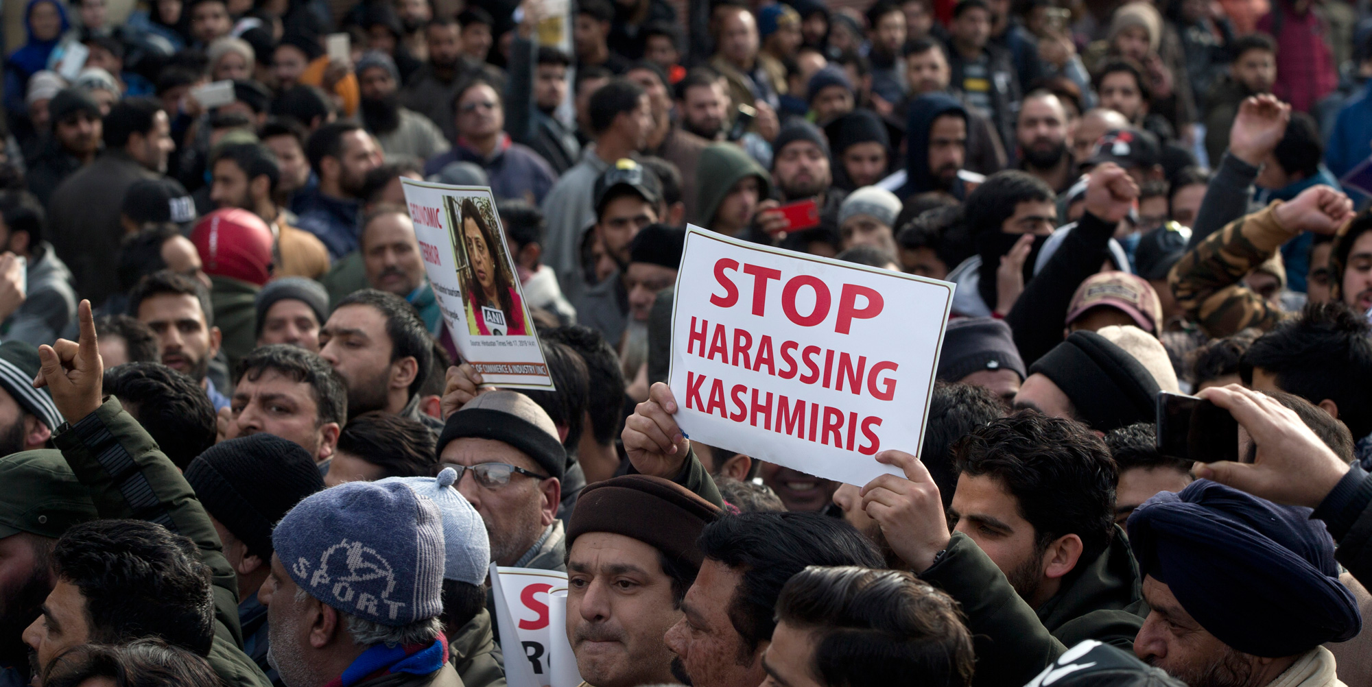 Kashmiri traders participate in a protest against targeting of Kashmiri Muslims in India, in Srinagar, on Friday, February 22, 2019.