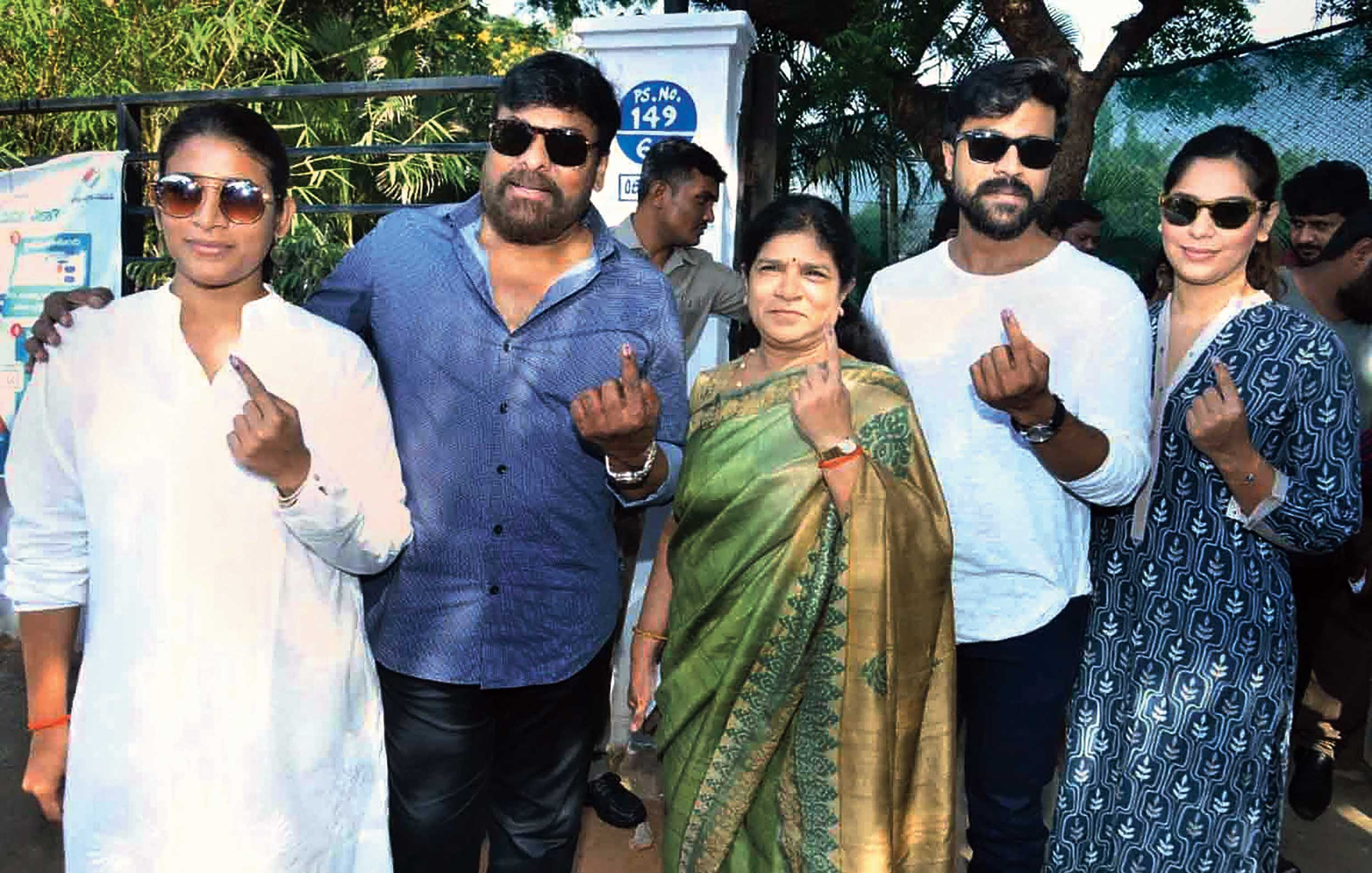 Telugu film star Chiranjeevi (second from left) and his family members after casting their votes at Jubilee Hills in Hyderabad on Thursday.