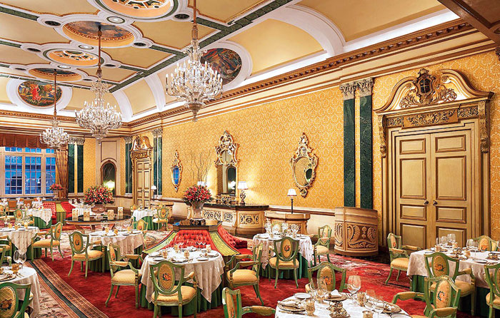 Suvarna Mahal, the dining room in Rambagh Palace