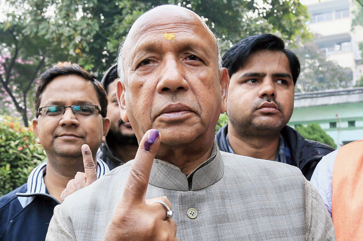 Saryu Roy, Jamshedpur East Independent candidate, shows his inked finger after casting his vote in Jamshedpur on Saturday.