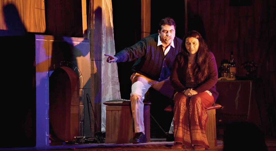 A moment from Amra Kajon Drama Society's 'Bhoy', put up as part of the All India Bengali Short Drama Competition, or the National Theatre Festival, organized by the New Delhi Kalibari in association with Sangeet Natak Akademi and Circle Theatre Company.
