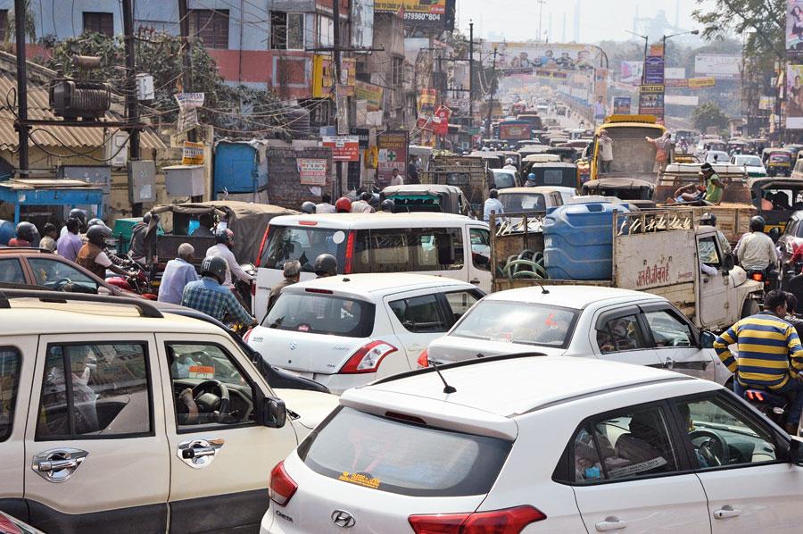 Vehicles stuck in traffic on the Mango bridge in Jamshedpur on Thursday.