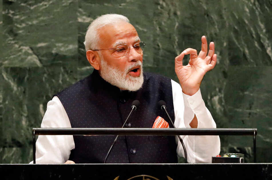 Prime Minister Narendra Modi addresses the 74th session of the United Nations General Assembly, Friday, September 27, 2019.
