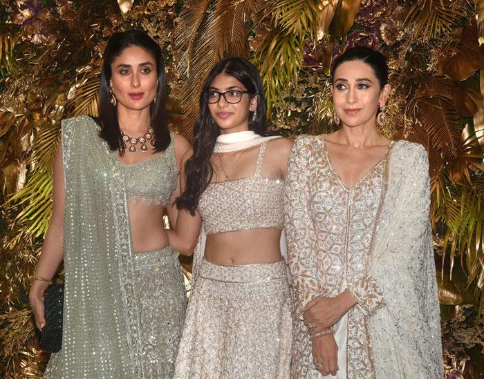 Bollywood actors Kareena, Samiera and Karishma at Armaan Jain and Anissa Malhotra's wedding reception, in Mumbai