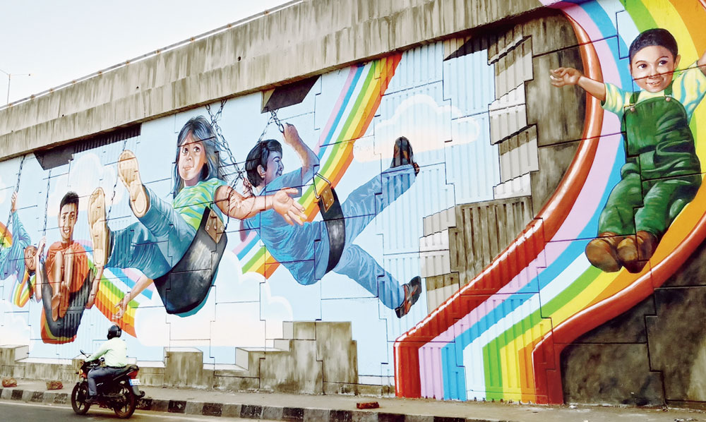 The murals have been put up in the most prominent spaces in the city.