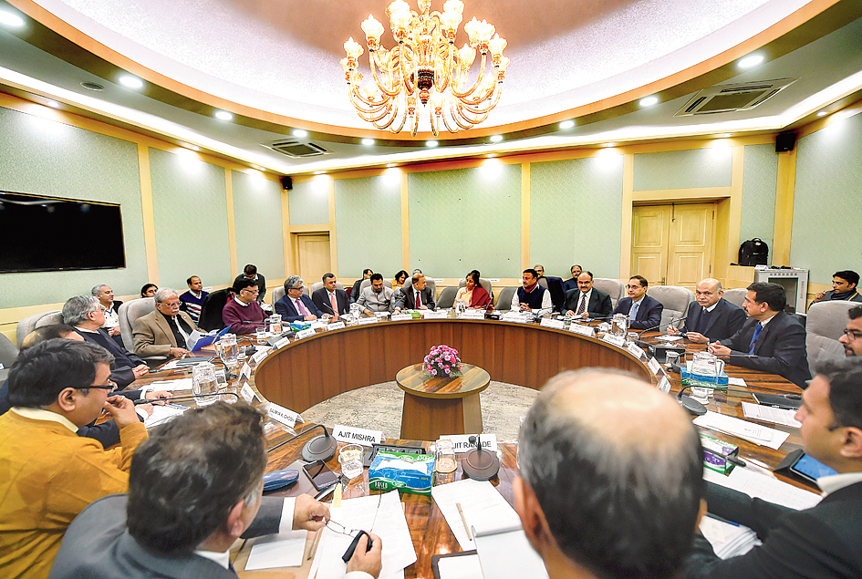 Sitharaman at a meeting with economists in New Delhi on Friday