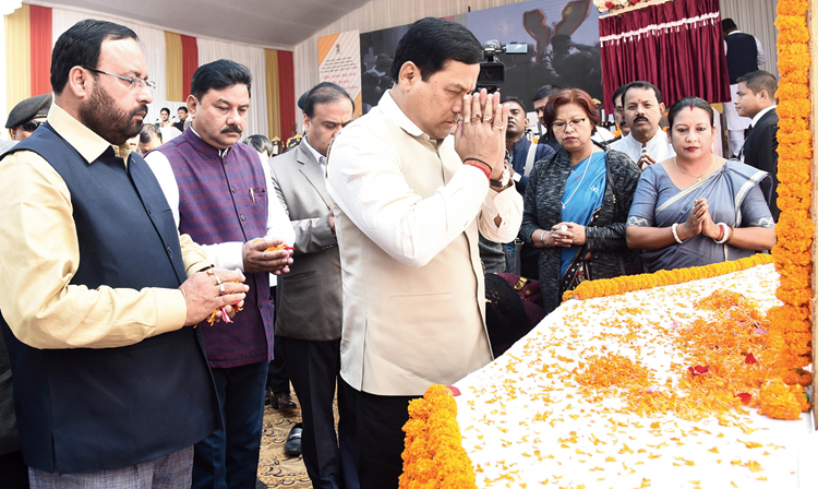 Sonowal pays tribute at the Martyrs' Memorial on Tuesday
