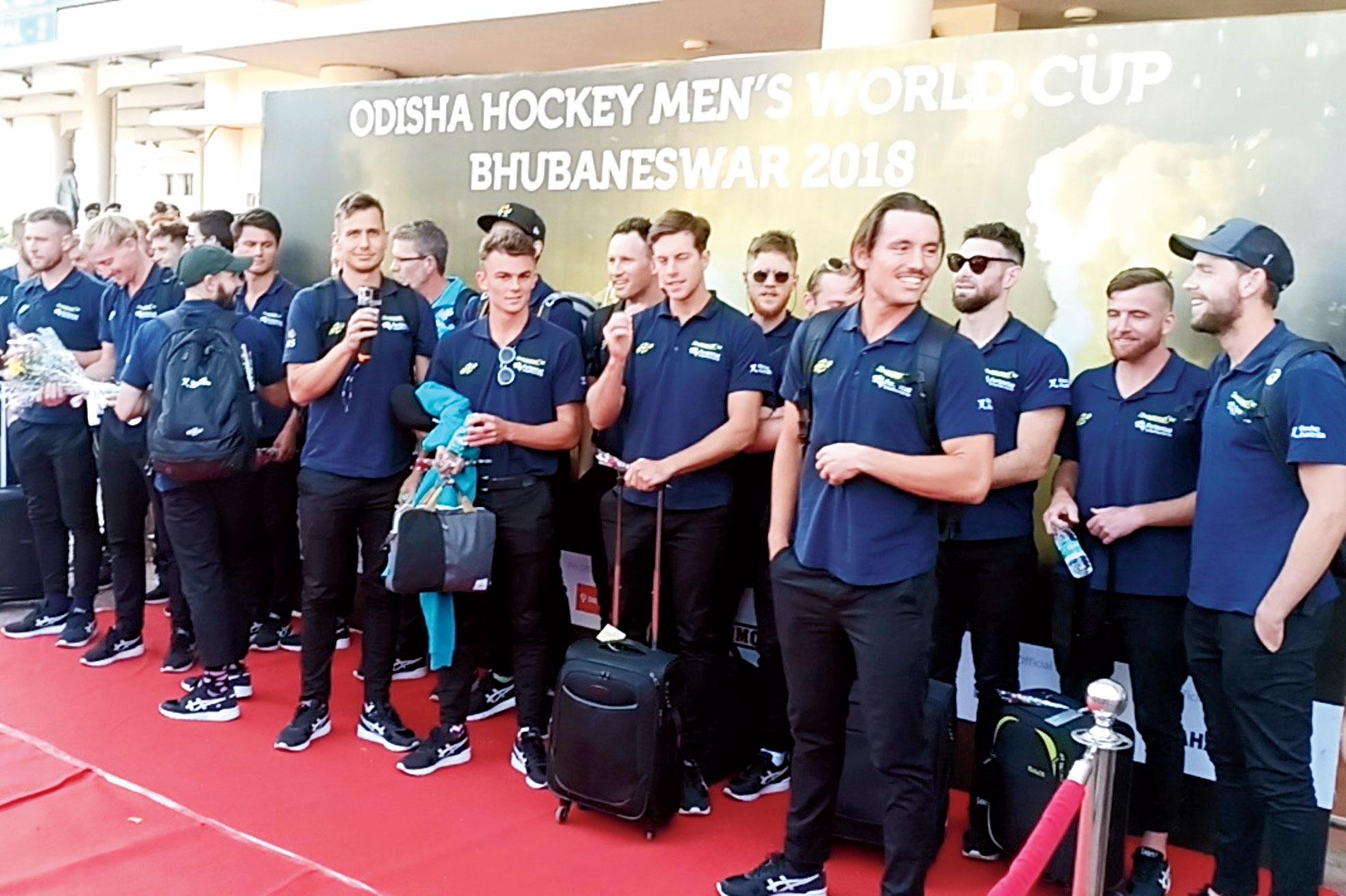 Members of Australian hockey team arrive in Bhubaneswar on Saturday.