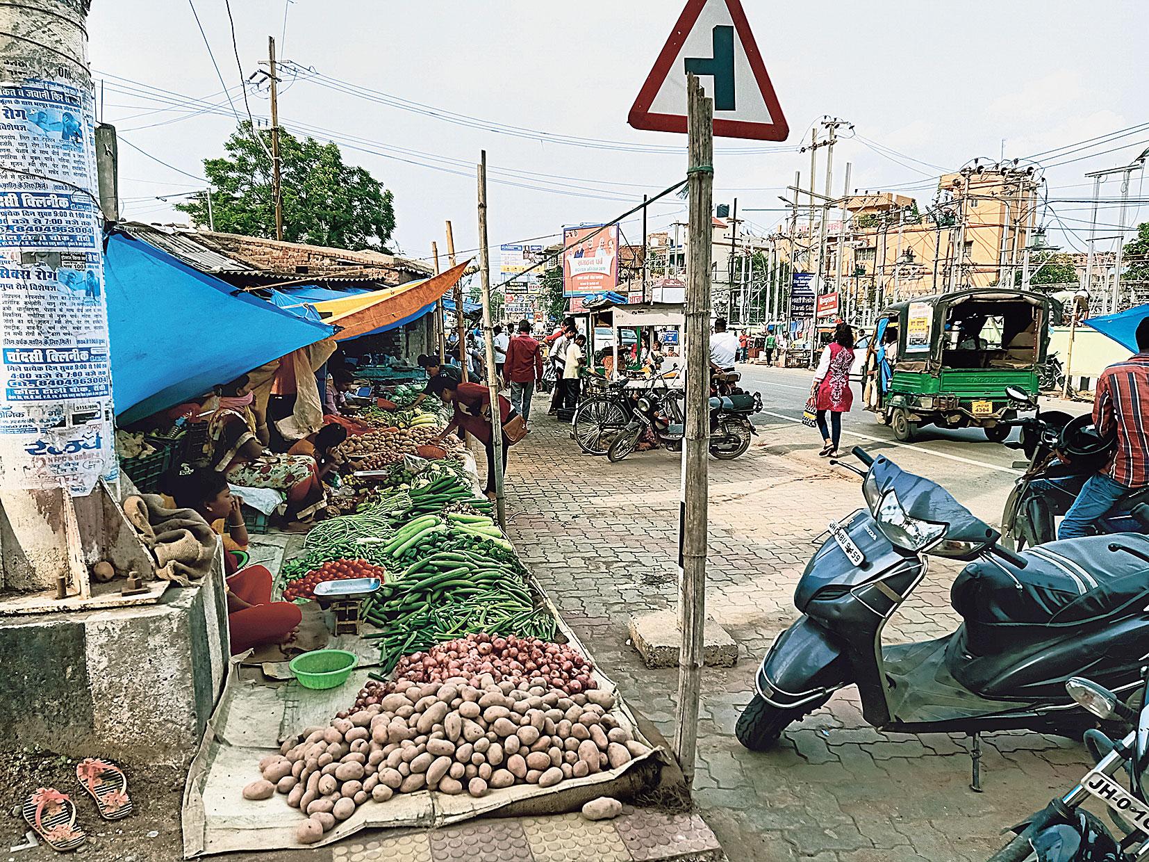 The vegetable market at Kokar Chowk in Ranchi on Saturday.