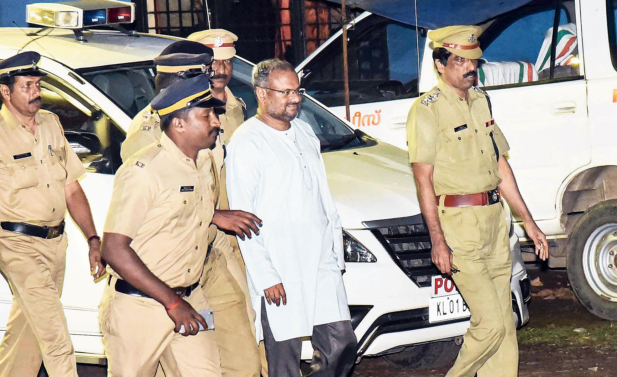 Bishop Franco Mulakkal after his arrest in Tripunithura, Kerala, on Friday.