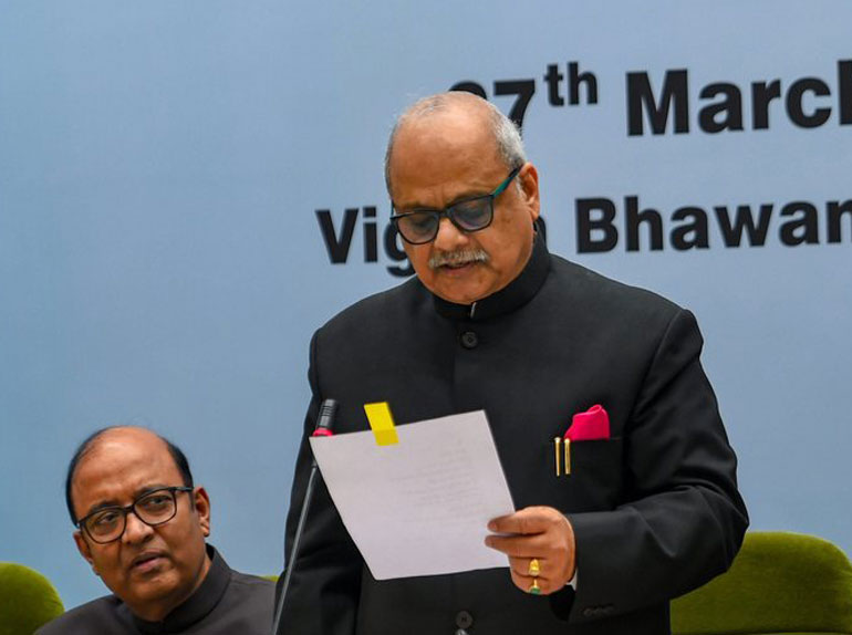 Lokpal chairperson Justice Pinaki Chandra Ghose at the swearing-in ceremony of the new members of the Lokpal