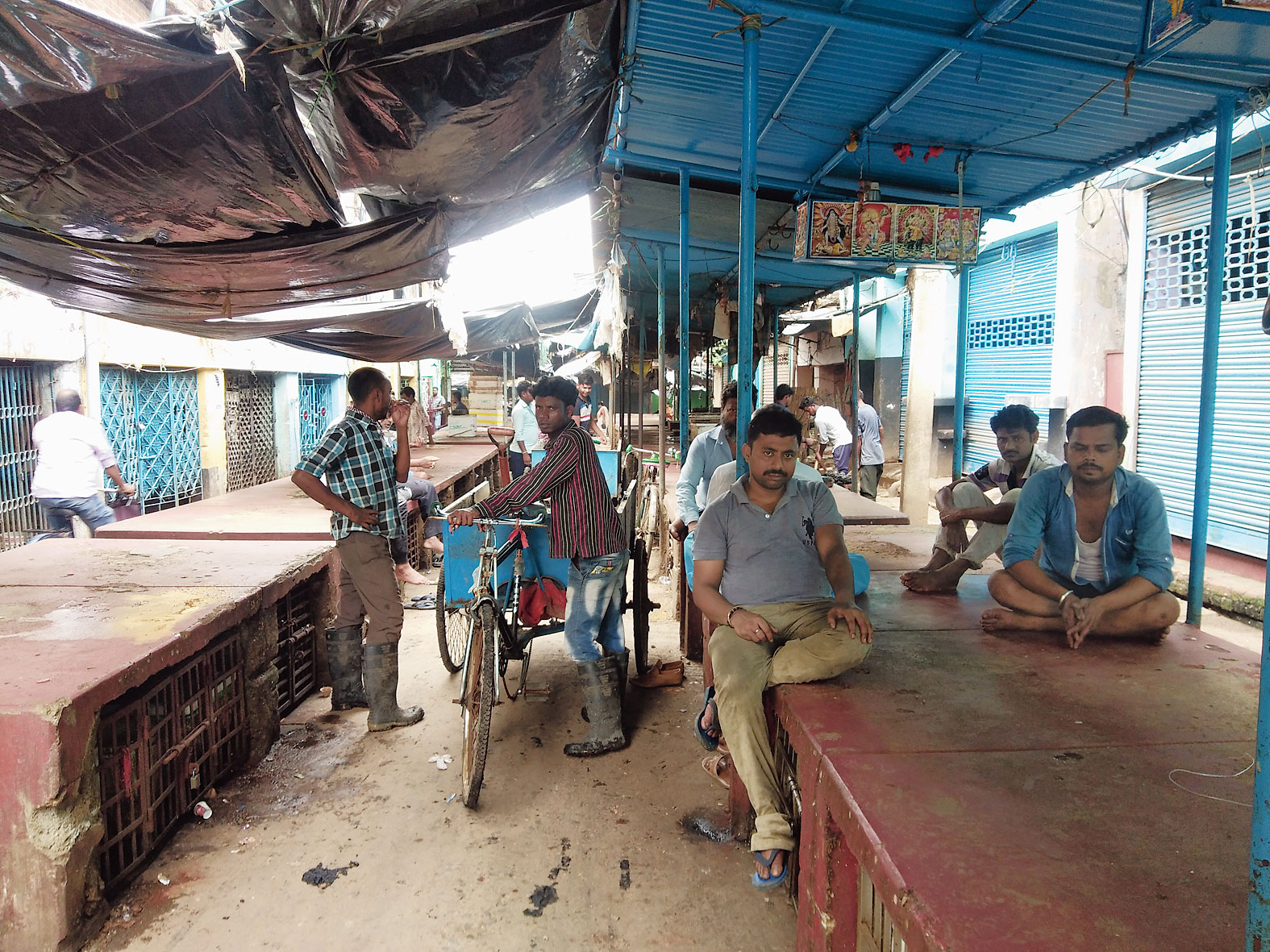 The closed fish market in Durgapur's Benachity on Thursday.