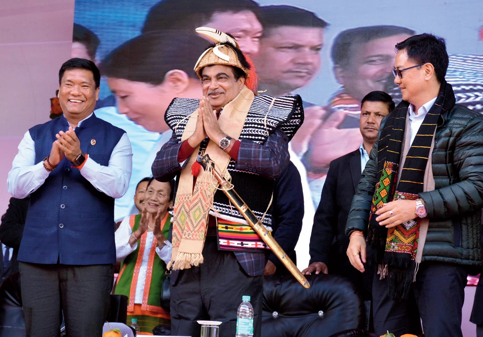 Pema Khandu, Nitin Gadkari and Kiren Rijiju at Roing in Arunachal Pradesh on Thursday.