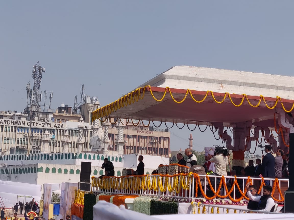 The stage at the Ramlila Maidan in New Delhi, where Delhi chief minister Arvind Kejriwal and six others took their oath