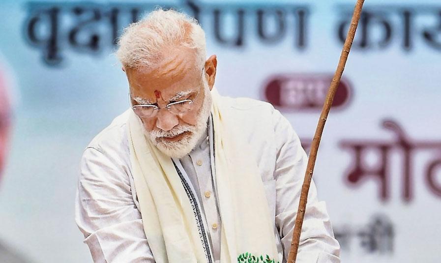 Modi participates in a tree plantation drive in Varanasi on Saturday.