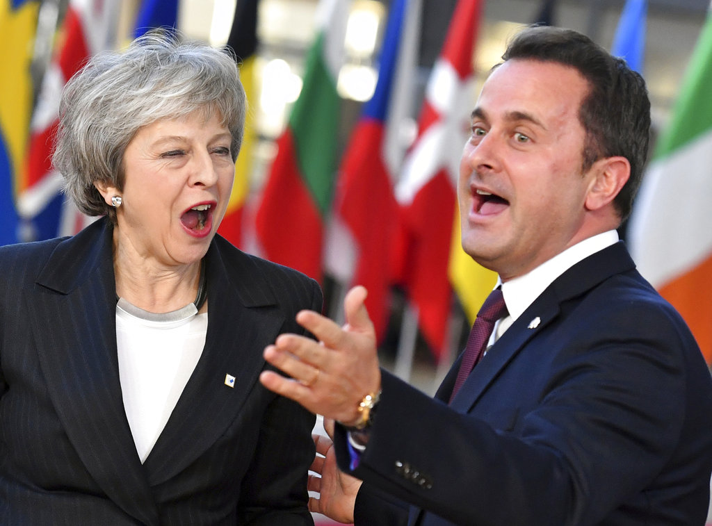 Theresa May with Xavier Bettel in Brussels on Thursday.