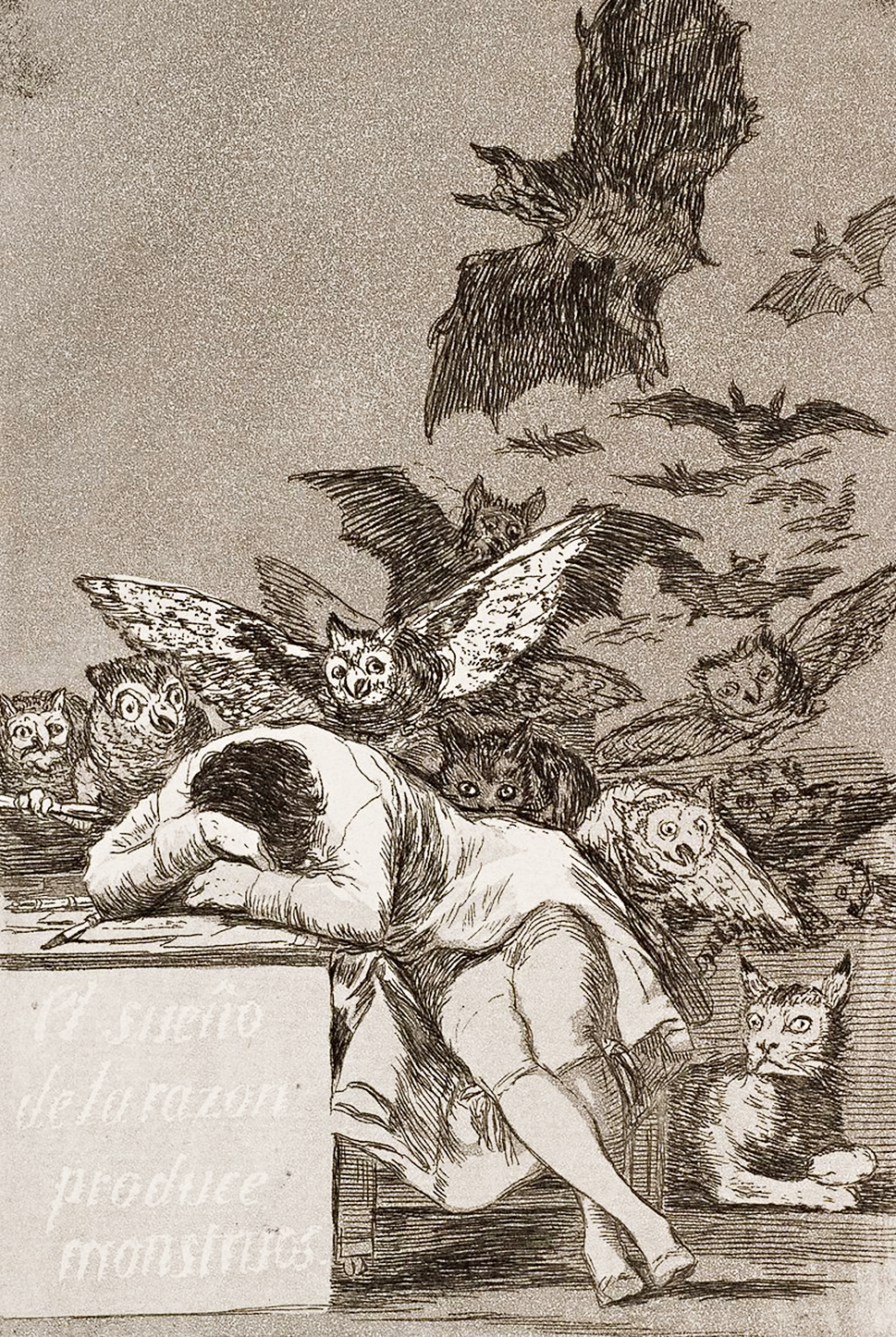 The sleep of reason produces monsters, an etching by Francisco Goya